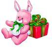 恭贺节庆0059,恭贺节庆,中国民间艺术,粉红兔子 小礼盒 彩带包扎