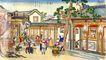 民间艺术0023,民间艺术,中国民间艺术,印画 房屋 屋舍