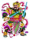 门神0003,门神,中国民间艺术,挥舞 双锏 猛将