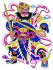 门神0008,门神,中国民间艺术,飘带 胡须 武器
