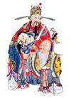 门神0012,门神,中国民间艺术,神仙 老人 寿桃