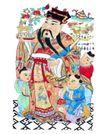 门神0013,门神,中国民间艺术,年画 麋鹿 赐福