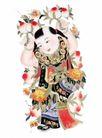 门神0022,门神,中国民间艺术,娃娃 金童 寿桃