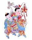 门神0027,门神,中国民间艺术,灯笼 狮头 孩童