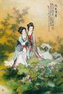 荷香清暑图,人物名画,中国现代名画,古代美女