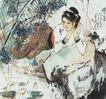 赏莲图,人物名画,中国现代名画,惬意时光