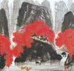 神农架秋色图,山水名画,中国现代名画,枫树 高山 河水 船只 名画