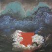 神龙山居图,山水名画,中国现代名画,村庄 住户 房子 深山 堤坝