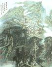 苗寨云雾间图,山水名画,中国现代名画,