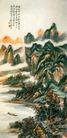 野水带斜曛图,山水名画,中国现代名画,