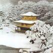 雪中金阁寺图,山水名画,中国现代名画,