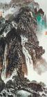 黄山人字瀑图,山水名画,中国现代名画,