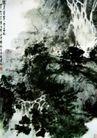 满身苍翠惊海风,傅抱石,中国近代大师名画,水墨 山水 倾泄