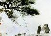 虎溪三笑,傅抱石,中国近代大师名画,傅抱石 聊话 树下