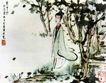 长干行,傅抱石,中国近代大师名画,女子 花园 散步