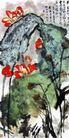 重彩荷花,刘海栗,中国近代大师名画,树林 生长 茂盛