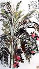 香蕉月季图,刘海栗,中国近代大师名画,植物 绿叶 果实