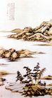 仿倪云林秋水清空,张大千,中国近代大师名画,山石 河流 小景