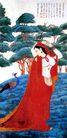 坚印度画侍女,张大千,中国近代大师名画,女人 风衣 丰满