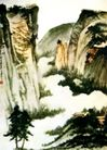峨眉三顶,张大千,中国近代大师名画,山峦 起伏 壮丽