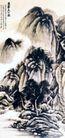 巨然夏山图,张大千,中国近代大师名画,远山 题诗 构图 水墨 景色