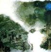 慈湖图,张大千,中国近代大师名画,山间 空旷 雾气 意境 晕染
