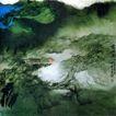 慈湖图2,张大千,中国近代大师名画,名画 丛山 房屋 慈湖图 环绕