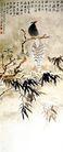 春枝栖禽,张大千,中国近代大师名画,花鸟 竹叶 树枝