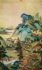 江堤晚景,张大千,中国近代大师名画,树木 村民 大山