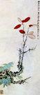 红叶小鸟,张大千,中国近代大师名画,叶子 红叶 收藏