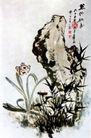 芝仙祝寿,张大千,中国近代大师名画,植物 石头 假山