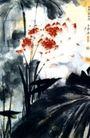 荷,张大千,中国近代大师名画,红叶 植物 叶子
