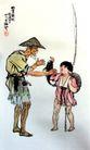 渔父,徐悲鸿,中国近代大师名画,徐悲鸿作品 老渔夫 钓竿