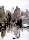 漓江春雨,徐悲鸿,中国近代大师名画,大师名作 山水画 渔船