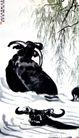 牛浴,徐悲鸿,中国近代大师名画,传世之作 柳叶 黑牛