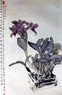 紫兰,徐悲鸿,中国近代大师名画,盆栽 紫色 花朵