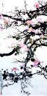 紫荆,徐悲鸿,中国近代大师名画,粉红 果树 开化