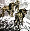 群狮,徐悲鸿,中国近代大师名画,岩石 石顶 群狮