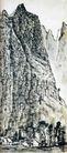 画山侧影(b),李可染,中国近代大师名画,山崖 陡峭 悬崖
