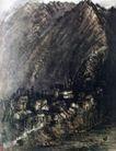 略阳城,李可染,中国近代大师名画,山坳 乡村 民居