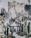 简笔山水,李可染,中国近代大师名画,茅亭 草屋 清凉