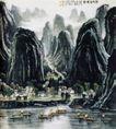 阳朔胜境图(b),李可染,中国近代大师名画,山水 小船 停泊