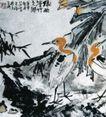 绿雨清竹之乡(a),李苦禅,中国近代大师名画,黄头 仙鹤 竹叶