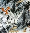 绿雨清竹之乡(b),李苦禅,中国近代大师名画,芭蕾 树叶 落地