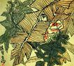 芭蕉月季,李苦禅,中国近代大师名画,黄叶 遮掩 树丛