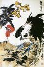 花下雄鸡图,李苦禅,中国近代大师名画,红头 公鸡 鸡冠
