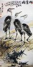 荒渚水禽,李苦禅,中国近代大师名画,鹤群 荒野 江畔