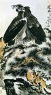 远瞩,李苦禅,中国近代大师名画,苍鹰 山顶 石头