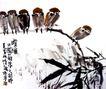 晴秋,潘天寿,中国近代大师名画,飞鸟 树枝 叶子