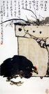 盆兰墨鸡图,潘天寿,中国近代大师名画,